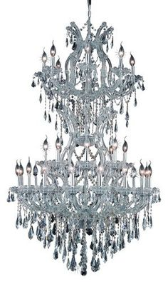 2801 Maria Theresa Collection Large Hanging Fixture D36in H56in Lt:32+2 Chrome Finish. 2801 Maria Theresa Collection Large Hanging Fixture D36in H56in Lt:32+2 Chrome Finish (Royal Cut Crystals) Watts:Lumens:Lamp Type:Shape:Style:TransitionalLight Bulbs:34Bulb Type:E12Bulb Wattage:40Max Wattage:1360Voltage:110V-125VFinish:ChromeCrystal Trim:Royal CutCrystal Color:Crystal (Clear)Hanging Weight:122Case Pack: 1Color: Crystal (Clear)