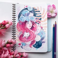 """989 Likes, 10 Comments - ✨Leigh Ellexson✨ (@leighellexson) on Instagram: """"116/365 I've been trying to fill this Mossery sketchbook with these girls but I think I need to…"""""""