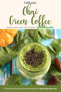 As the weather becomes chilly, many of us reach for cup of spicy chai to warm us up. This smoothie not only incorporates the warming spiciness of black pepper, cardamom, clove, ginger and cinnamon (in the chai spice blend), it also has a dash of green coffee, which will give you a burst of energy, and may even boost your metabolism!