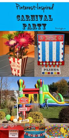 A Pinterest-Inspired Carnival Party: Check out how I used my Carnival Party Pinterest Board to plan my kids' birthday party this year. Seven game ideas, prizes and more included. If your church or school is having a carnival or if you're planning a birthday party for your kids that's carnival-themed, make sure to check this out on my blog! So much fun!