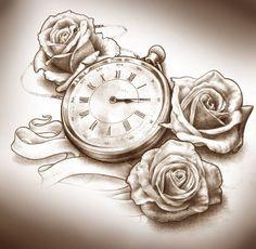 steampunk clock tattoo designs | Three roses and clock tattoo design