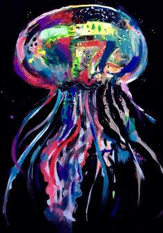 """Jellyfish""  Acrylic in canvas  50x70 cm.  2015"