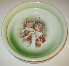 Antique GERMAN PORCELAIN LITTLE GIRLS & MONKEY CHILDS DISH