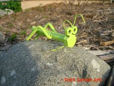 Lime Green Grasshopper Recycled Metal Garden Art by PatsGardenArt