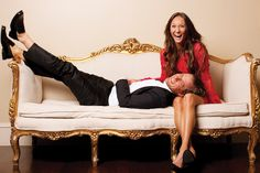 Fabulous couch and a well dressed couple - it's all you need for a great shoot! ha