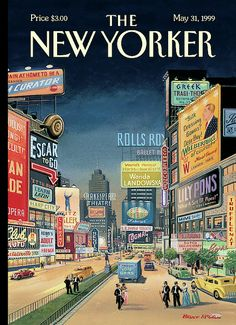 Postcards from The New Yorker: One Hundred Covers from Ten Decades - French, Bruce McCall The New Yorker, New Yorker Covers, New York Poster, Capas New Yorker, Rhapsody In Blue, Square Canvas, New York Art, Magazine Art, Magazine Covers