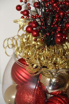 Centrotavola di Natale  rosso e oro vacanza Decor