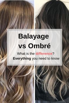 Ombre vs Balayage: What is the difference? Find Out Everything you need to know about the Hollywood Hair trend. Are Ombre and Balayage the same thing? What's the difference between highlights and balayage? How long does it last and how much does it cost? Balayage Vs Highlights, What Is Balayage Hair, Balyage Hair, Balayage Hair Blonde, Black Hair Ombre, Ombre Hair Color, How To Ombre Hair, Teal Hair, Hair Colour