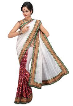 Buy White and Maroon Bhagalpuri Silk and Crepe bandhej saree online, work: Embroidered, color: Maroon / White, usage: Festival, category: Sarees, fabric: Silk, price: $51.35, item code: SJN2931, gender: women, brand: Utsav