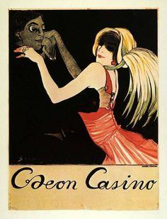 Vintage art nouveau canvas print - odeon casino 1912 by daniel hagerman Art Vintage, Vintage Ads, Vintage Posters, Retro Posters, Vintage Type, Vintage Glam, Vintage Magazines, Vintage Decor, Vintage Photos