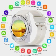Buy Smart Watch Bluetooth Smartwatch with Camera Touch Screen SIM Card Slot, Waterproof Phones Smart Wrist Watch Sports Fitness Compatible with IPhone Android Smart Equipment for Kids Men Women (Black) at Wish - Shopping Made Fun Sport Watches, Cool Watches, Smartwatch, Fitness Tracker Band, Hands Free Bluetooth, Twitter App, Camera Watch, Music Words, Tecnologia