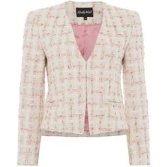 Osborne Jacket in Cream Pink Multi ($430) ❤ liked on Polyvore featuring outerwear, jackets, collarless jacket, pink tweed jacket, cream jacket, pink jacket and summer jacket