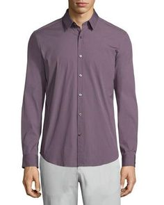 THEORY ZACK PS SOLID LONG-SLEEVE SPORT SHIRT, WINE. #theory #cloth #