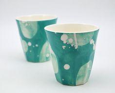 Set of 2 Ceramic Cups - Handpainted Ceramic Cups - Latte Cups