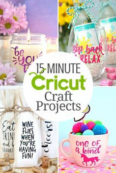 Looking for quick and easy Cricut projects you can make in 15 minutes or less? Well, you've come to the right place because I've created a a fabulous collection of quick and easy 15 Minute Cricut Craft Projects that anyone can do! #diymakeup