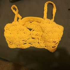 Crochet crop top Yellow crochet crop top!! Brand new never worn. Perfect for summer or festival vibes Urban Outfitters Tops Crop Tops