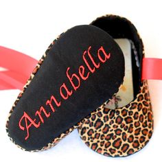 Cheetah with Red Baby Girl Shoes FREE by mysweetbabylove on Etsy, $32.00