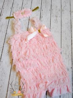 Pink & Gold Romper and Headband Set Cake Smash by TheRogueBaby, $28.95