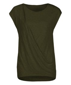 This Olive Drape-Front Cap-Sleeve Top is perfect! #zulilyfinds