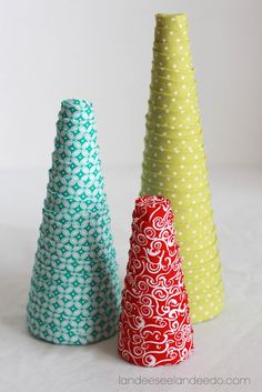 Doing this soon. All you need is styrofoam cones, fabric and straight pins. Great tutorial!