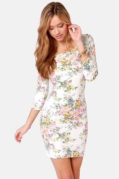 I WANT. Billabong Knock Out Dress - Floral Print Dress - Body-con Dress - $46.00