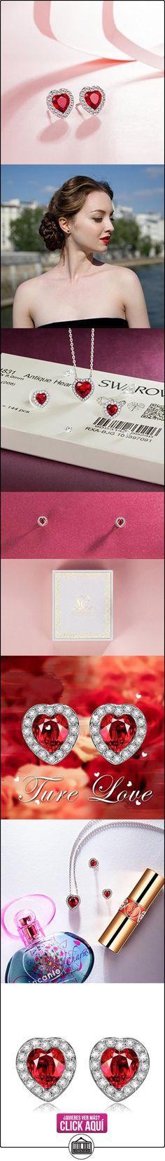 Lady colour Pasion Pendientes mujer con cristales de Swarovski rojo corazon joyeria arete regalos cumpleanos regalos dia de la madre regalos de san valentin regalos de Navidad color plata  ✿ Joyas para mujer - Las mejores ofertas ✿ ▬► Ver oferta: https://comprar.io/goto/B01BV6KXTO