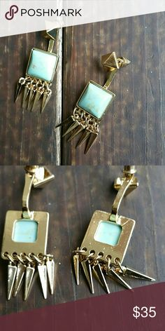 18k gold plated and authentic turquoise earrings Amazing  natural beauty,  a piece that will last for ever. October love  Jewelry Earrings
