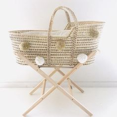 "Baby bassinet ""Moses"" ecru and golden PomPoms Baby Baskets, Moses Basket, Baby Bassinet, Welcome Baby, Toy Storage, Baby Registry, Baby Gear, Kids Playing, Baby Room"
