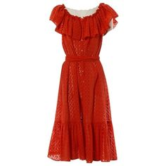 ISA ARFEN RED LACE DRESS. #isaarfen #cloth Isa Arfen, Mi Long, Red Lace, Mid Length, World Of Fashion, Luxury Branding, Ruffles, Off The Shoulder, Dress Outfits