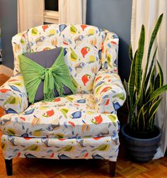 DIY mostly No Sew Reupholstered Chair