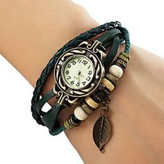 200145ec3fc1 Women s Watch Wrist Watch Bohemian Leaf Analog Quartz Leather Weave  Bracelet in Jewelry   Watches