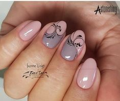 Best 12 Nail Arts Fashion Designs Colors and Sty… – – SkillOfKing. Swirl Nail Art, Pink Nail Art, Pink Nails, Gel Nails, Acrylic Nails, Manicure Nail Designs, Gel Nail Art Designs, Manicure E Pedicure, Fancy Nails