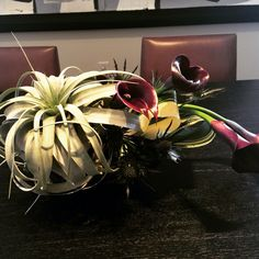 Succulents and Cali Lilies were used to create this dark arrangement