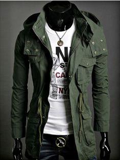 Navy Green Men Jacket Mens Slim Fit Zip Jacket Coat by Wowcosplay, $72.00