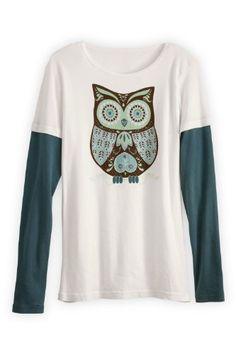 Green 3 Apparel Retro Owl Layered Look USA-made Organic T-shirt  Price : $42.90 http://www.fairindigo.com/Green-Apparel-Layered-USA-made-Organic/dp/B00E4UCQ4A