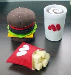 felt hamburger, french fries, and drink