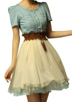 Blue, cream, and brown Western dress... Wish this skirt were full-length! Would LOVE.