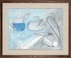 Tea Pot, Fruits and Foliage, By Françoise Gilot (French, born Pencil and Gouache. Francoise Gilot, French Artists, Pablo Picasso, Gouache, Tea Pots, Original Artwork, Pencil, Fruit, Prints
