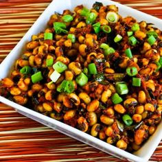 Recipe for Indian Spiced Black-Eyed Peas with Tomato and Curry Leaves