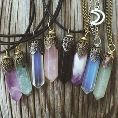 Crystal Necklace Pendant Stone Jewelry- Rose Quartz Amethyst Opal Fluorite Reiki Chakra Boho Bohemian Hippie Tumblr Chokers Womens Jewelry by SavannahAvril on Etsy https://www.etsy.com/listing/212240611/crystal-necklace-pendant-stone-jewelry