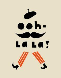 """/ / """"Ooh la la !"""" / / Orange & Noir / / Béret & Moustache / / Silhouette Homme / /"""