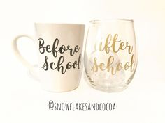 Back to school teacher gift! Wine glass/Coffee Cup set ***Before school coffee cup and After school wine glass - Christmas Gift for teacher Thank You Gift Baskets, Teacher Gift Baskets, Wine Gift Baskets, Basket Gift, Boyfriend Gift Basket, Boyfriend Gifts, Personalized Picture Frames, Personalised Pens, Teacher Christmas Gifts