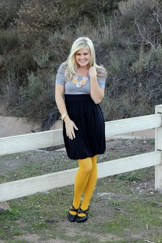 Love the dress & necklace plus tights idea, except step this up a notch with dark gray tights & platform heels.