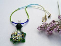 Glass Lampwork Turtle Necklace. Seed Bead by MissCrocreations
