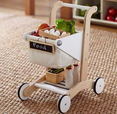 Toy shopping cart for kids.