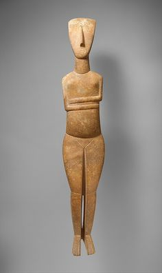 Marble female figure ,Early Cycladic II ,2600-2400 BC -The recognition of distinct artistic personalities in Cycladic sculpture is based upon recurring systems of proportion and details of execution. The stylization of the human body that is elegant almost to the point of mannerism is characteristic of the Bastis Master.