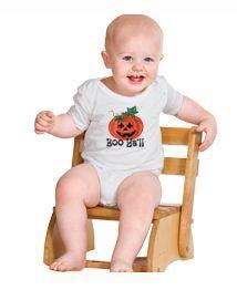 Orange Pumpkin Boo Ya'll on White Onesie Original Hand painted design on Etsy, $12.95