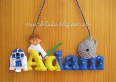 Baby name felt STAR WARS R2D2 and Luke Skywalker - Nombre bebe STAR WARS R2D2 y Luke Skywalrker en fieltro CONTACT: carmenmissfabulas@gmail.com