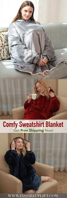 Ever wished you could wear your softest, most comfortable blanket? Well, now you can, with our Cozy Blanket Sweatshirt. Hula Hoop Rug, Cardi B Photos, Wearable Blanket, Sherpa Lined, Cozy Blankets, Game Night, Warm And Cozy, Vikings, Curly Hair Styles