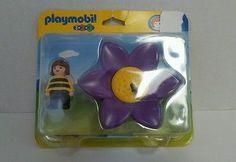 NIP 2006 Geobra PLAYMOBIL 123 (#6756) - Purple SUNFLOWER & BUMBLEBEE Girl FIGURE